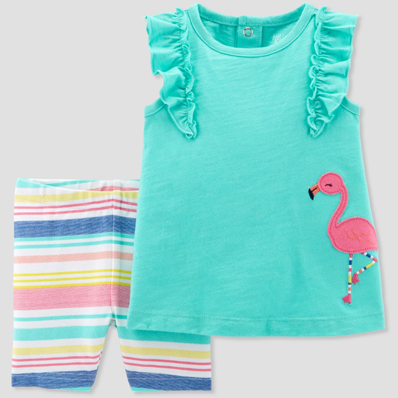 Just One You by Carter's Other - Carters Baby Girl Flamingo Top & Short Set Clothes